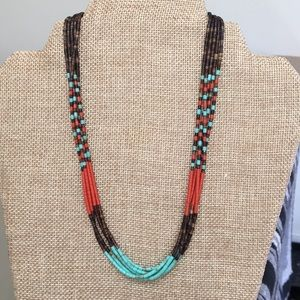 Jewelry - Turquoise and coral heishi necklace